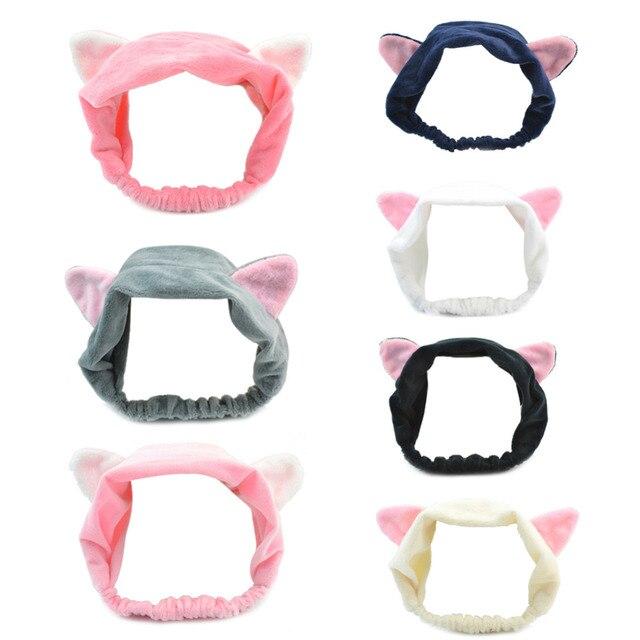 Diadema de orejas de gato para mujer 2018 nueva banda para el pelo de orejas de gato para correr Corea hermosa cara lavado aro de maquillaje de gato deporte hairwear de la bufanda de la cabeza