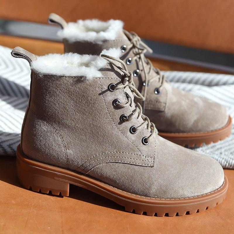 BeauToday laine neige bottes femmes en cuir véritable bout rond à lacets plate forme hiver dames cheville longueur chaussures à la main 03281 - 3