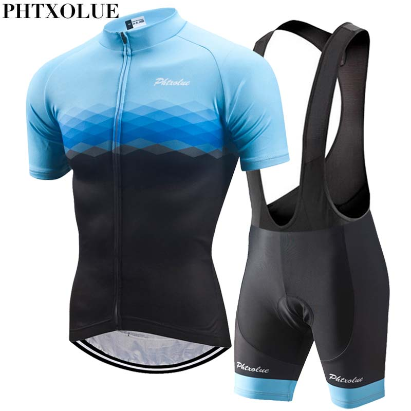 Phtxolue Cycling Sets Cycling Clothing Men Breathable Anti-UV Bicycle Wear Bike Clothing/Short Sleeve Cycling Jerseys set