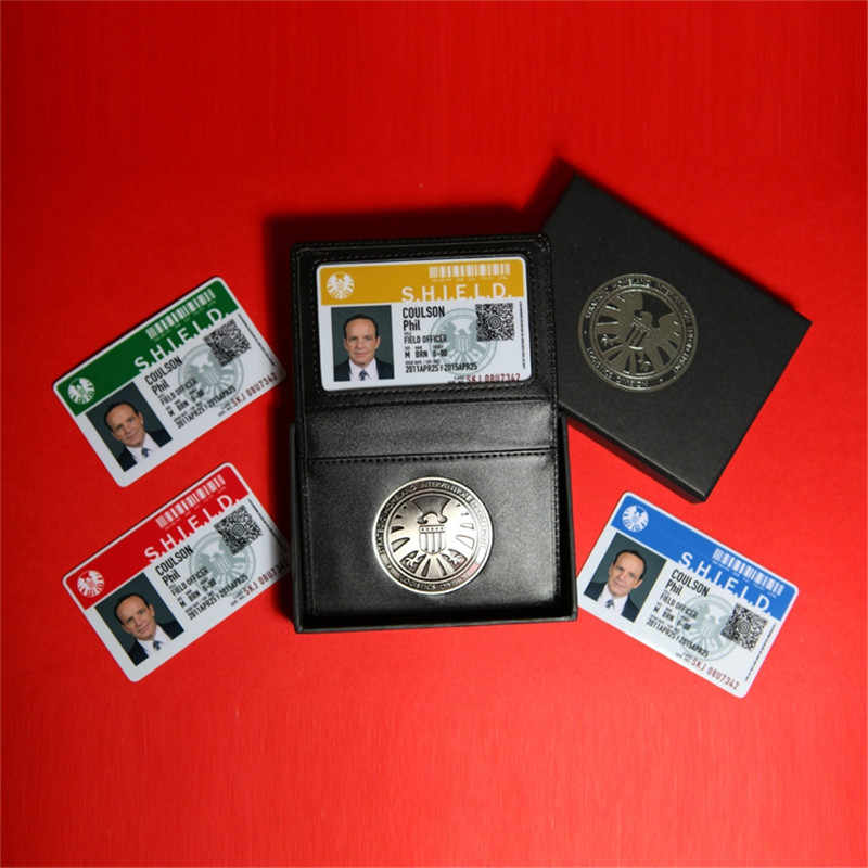 Agen Shield S.h.i.e.l.d. Perisai Logam Pin Lencana & Id Card Kulit Asli Dompet Pemegang Kasus 1:1 Hadiah Cosplay Collection