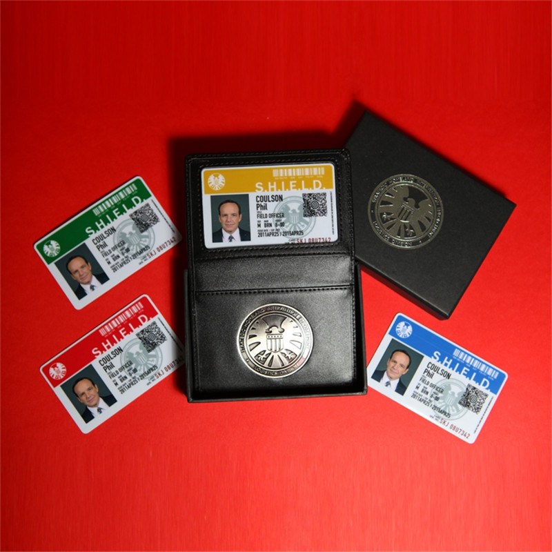 Agents Of Shield S.H.I.E.L.D. Metal SHIELD Badge Pin & ID Cards Genuine Leather Case Holder Wallet 1:1 Gift Cosplay Collection