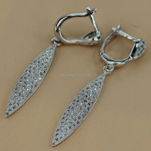 White Cubic Zirconia Silver Plated Vintage Jewelry Earring R3214 First class products Recommend Promotion Favourite Best