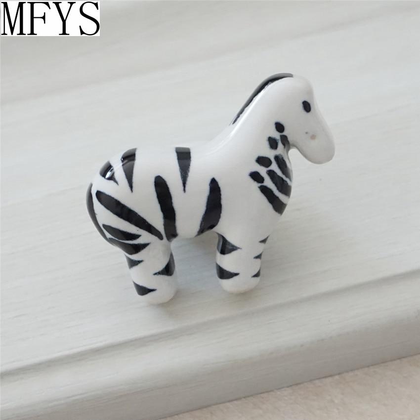 Dzieci Dresser Gałka Szuflady Uchwyty Ceramiczne Zebra