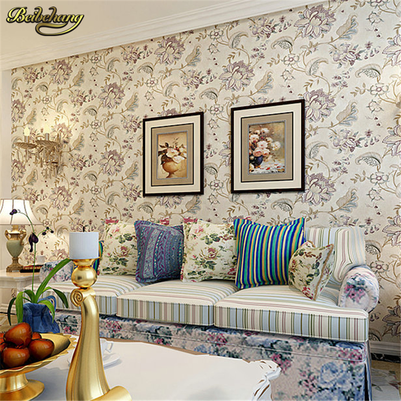 beibehang Pastoral Mediterranean non-woven wallpaper 3D stereoscopic relief cozy bedroom full shop wallpaper background beibehang blue wallpaper non woven