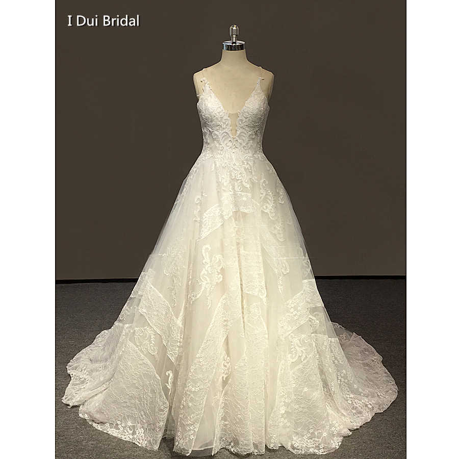 Ball Gown Lace Wedding Dresses Chapel Train Factory Real Photo Custom Made