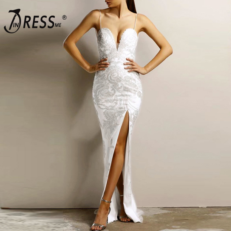 INDRESSME Floor Length Women Bandage Gown Dress Lace Embroidery Spaghetti Strap V Neck Backless Evening Party Dresses Vestidos-에서드레스부터 여성 의류 의  그룹 1