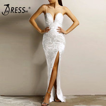 INDRESSME Floor-Length Women Bandage Gown Dress Lace Embroidery Spaghetti Strap V Neck Backless Evening Party Dresses Vestidos(China)