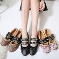 Женщины зимняя обувь женская Обувь балетки 2016 Круглый носок Теплый плюшевые Пряжка Узелок Плоский Лук Случайные женские мокасины Розовый Черный