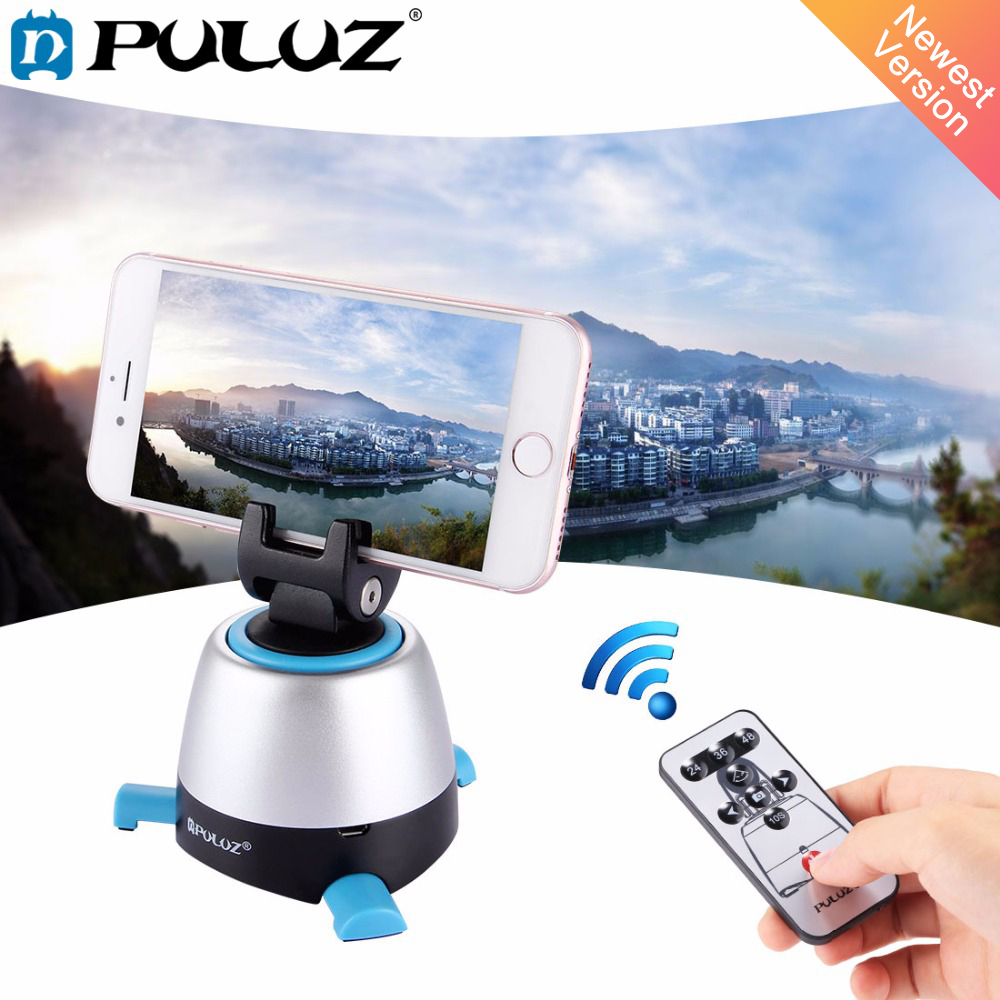 PULUZ 360 Degree Rotation Panning Rotating Panoramic tripod head with <font><b>Remote</b></font> <font><b>Controller</b></font> Stabilizer for Iphone <font><b>GoPro</b></font> DSLR Cameras image