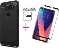 Para LG V30 Fundas Soft Case TPU Caso De Fibra De Carbono Para LG V30 e Vidro Curvo 3D Cobertura Completa Protetor de Tela Para LG V30