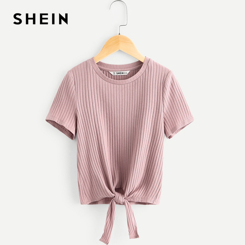 SHEIN Kiddie Pink Solid Ribbed Knit Knot Hem Casual Girls Tee Teenager Tops 2019 Summer Fashion Short Sleeve Cute Kids T-Shirt shein black elegant mock neck scallop trim cut out v collar short sleeve solid tee summer women weekend casual t shirt top