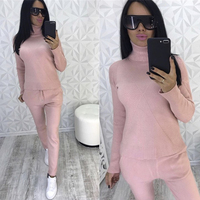 Pink Knitted Turtleneck Sweater Trousers Two Piece Set Autumn Winter Warm Suit Casual Long Sleeve Tracksuit Women Clothing Suits