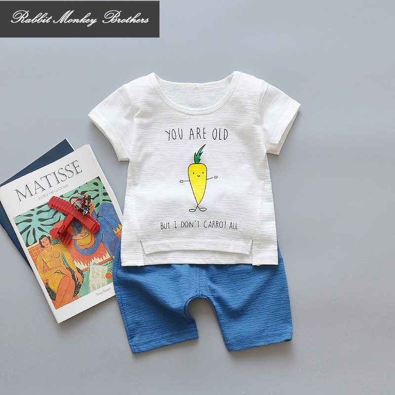 RMBKids boy Summer clothing set Children's clothing cotton comfortable short-sleeved set Boys Cartoon text two-piece suit i k boy vest suit breathable sport suit for boys 2017 summer new arrived children clothing two piece set comfortable suits a1082