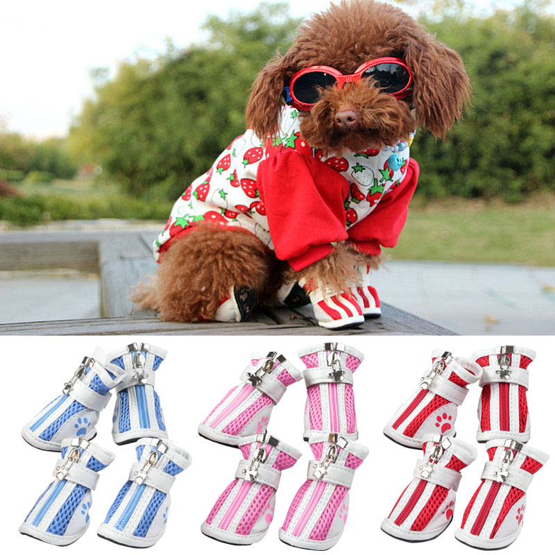 4 Pcs/ Set Cute Pet Dog Shoes Puppy Anti-Slip Shoes Winter Warm Boots TB Sale
