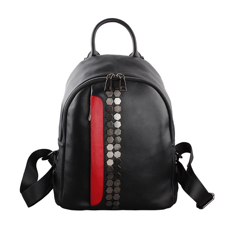 Homeda New Genuine Leather Fashion Women Backpacks Casual Riveted Mosaic Package Street Travel Girl Like Bags Z0019
