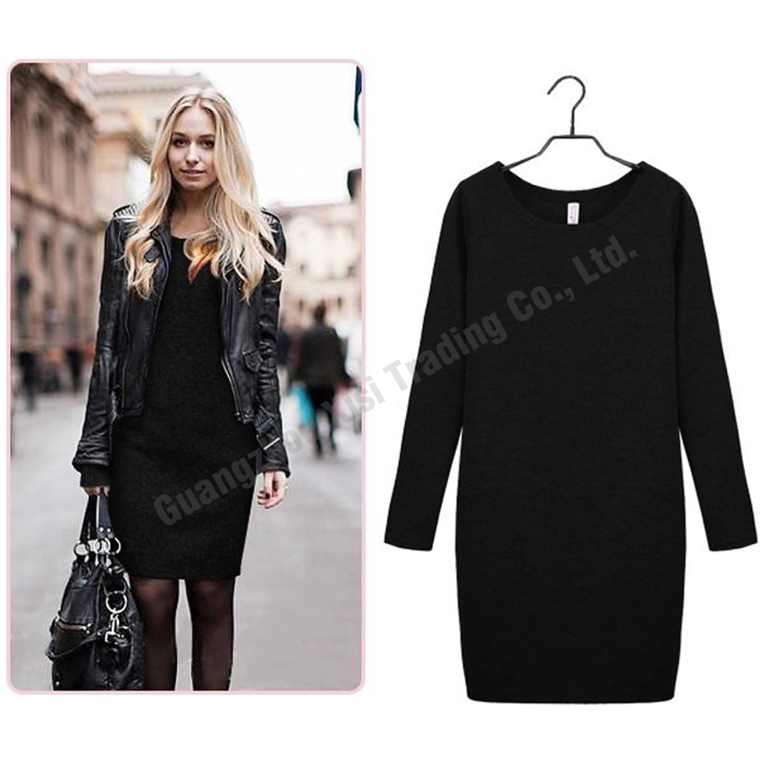 US $7 27 44% OFF 2019 Autumn winter casual top round collar long sleeve  pullover sweater plus size loose dress autumn long sweaters and  pullovers-in