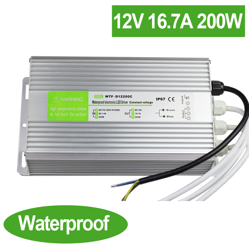 waterproof 12V 16.7A 200W LED Power Supply Driver Transformer triple putout for Led Strip Lights led driver transformer waterproof switching power supply adapter ac170 260v to dc48v 200w waterproof outdoor ip67 led strip