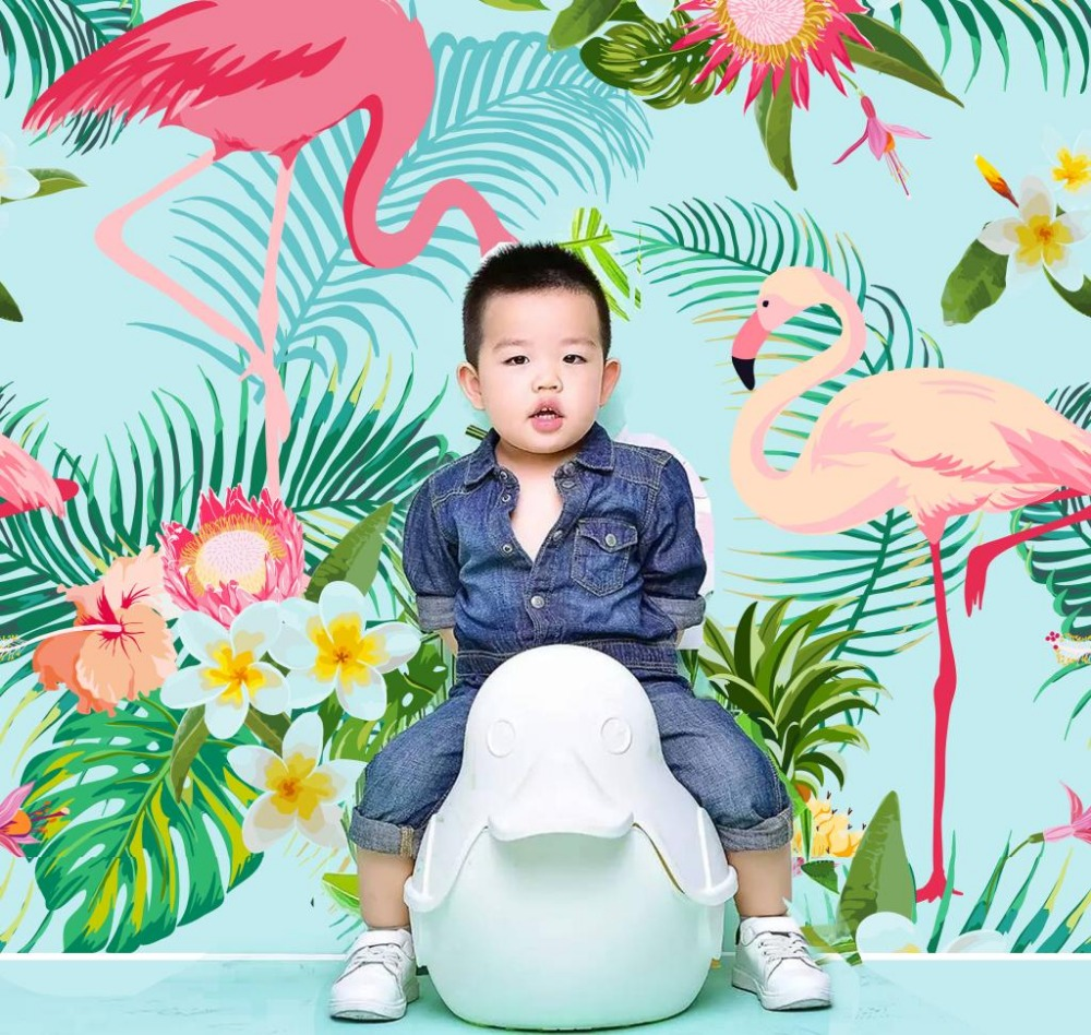 Newest flamingo cloth green flower background photography baby wedding photo backdrops digital printed photo background studio 200 300cm wedding background photography custom vinyl backdrops for studio digital printed wedding photo props