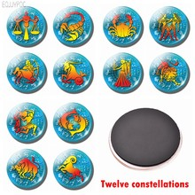 Zodiac Sign Refrigerator Decor Magnetic Stickers 30 MM Glass Fridge Magnets Twelve Constellations Gemini Cancer Leo Virgo Libra(China)