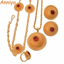 Anniyo Good Quality Habesha Ethiopian Gold Color Necklace/Earrings/Ring/Hair Chain Jewelry sets African Wedding Gifts #047611