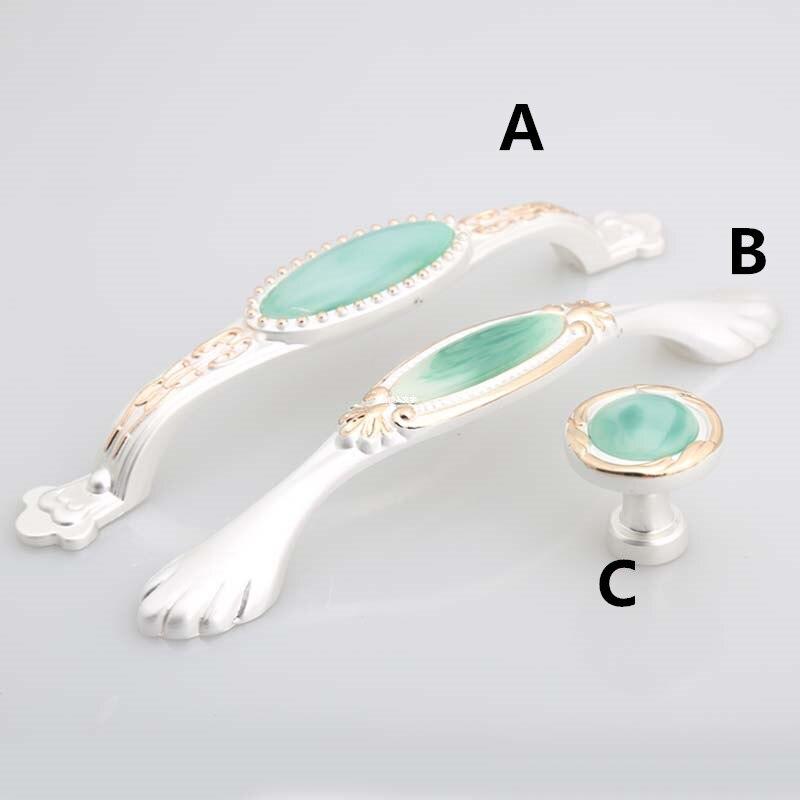 128mm green jade modern fashion furniture handles silver white kitchen cabinet dresser door handles pulls 5 gold drawer knobs