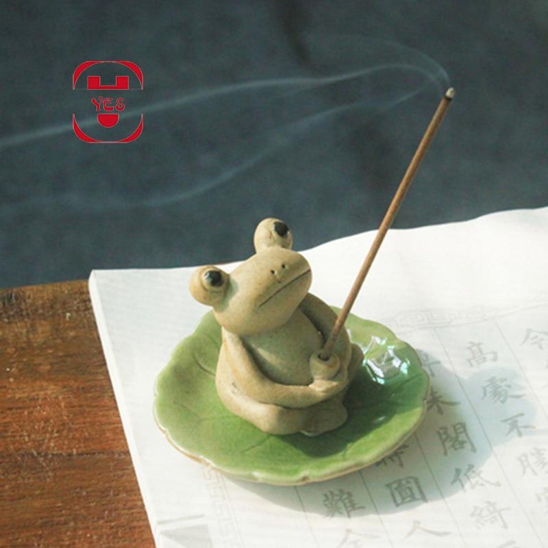 Mini Cute Ceramic Zen Frog Sculpture Censer Inserted Incense Stick Incense Tea House Tea Pet Manual Figurines Crafts Home Decor