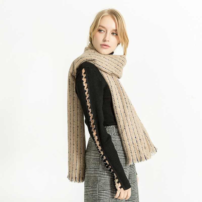 Skinny Striped Scarf Women Winter Blanket Scarf with Tassels Tippet Shawl Wrap Infinity Pashmina Poncho and Cape 775147