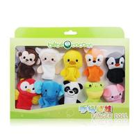 Mini 10pcs Finger Puppets Monkey Rabbit Sheep Pigs Foxes Owls Frogs Elephants Pandas Soft Plush Hand Puppets For Baby Gifts