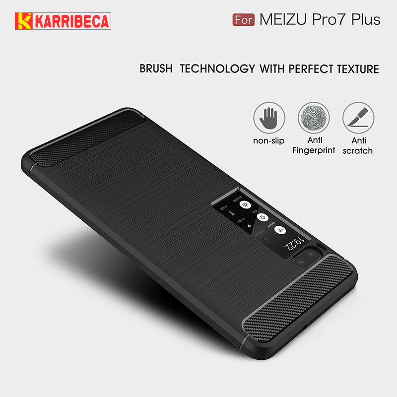 Carbon fiber silicon case for Meizu pro 7 plus brushed rugged armor tpu phone cover pro 7 plus 5.7 etui husa tok kryt puzdra