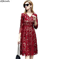 Spring and autumn women's v neck long sleeved ladies slim hollow out dress lace red dress A Line party midi vestidos dress