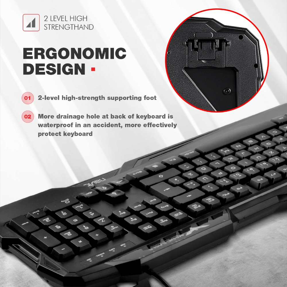 HAVIT Gaming Keyboard Mouse Set LED Backlight DE Layout 7 Buttons Gaming Mouse With 7 Color Light (800/1200/2400/3200 DPI Adj)