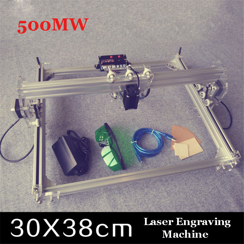 1PCs 500mW DIY Desktop Mini Laser Engraver, Engraving  Laser Machine  ,engraving Picture Logo Printer 30X38cm dk bl 1500mw laser power diy laser engraving machine desktop art laser engraver printer bluetooth 4 0 6000mah