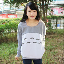 New Cute Girl'S Totoro Hoodies With Ears Style For Women Hood Pullovers Gray Cotton My Neighbor Sweatshirt Anime Cartoon Tops(China)