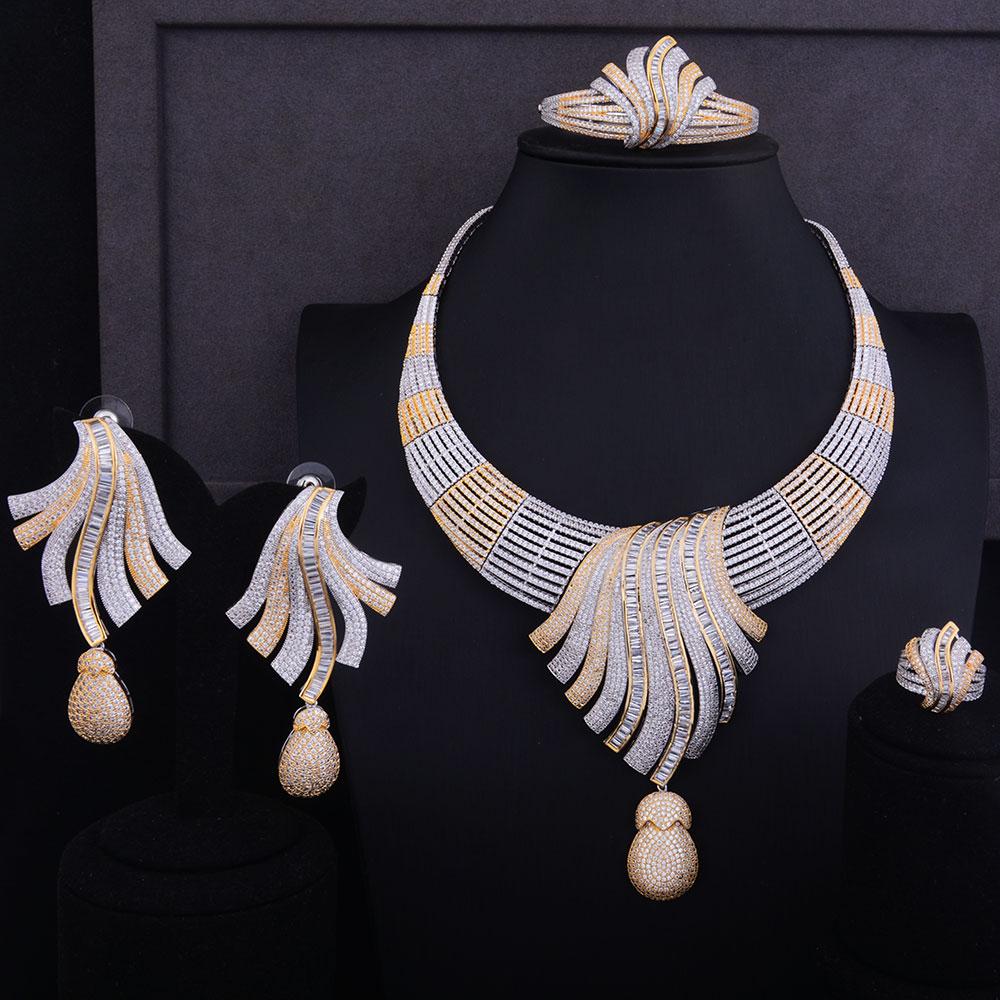 GODKI Luxury Feather Lariat Flower Women Wedding Cubic Zirconia Choker Necklace Earring Dubai Jewelry Set Jewellery