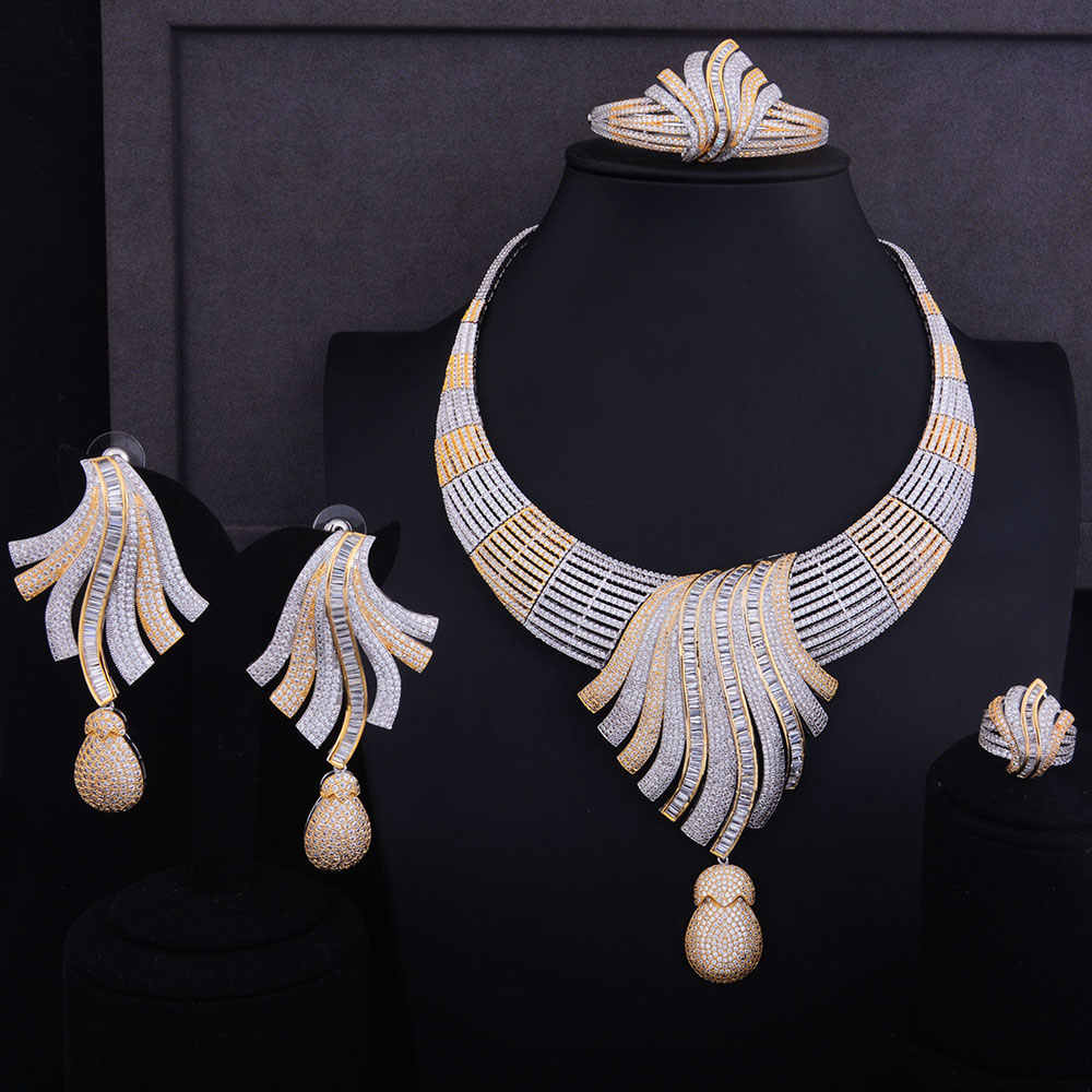 GODKI Luxury Feather Lariat Flower Women Wedding Cubic Zirconia Choker Necklace Earring Dubai Jewelry Set Jewellery Addict