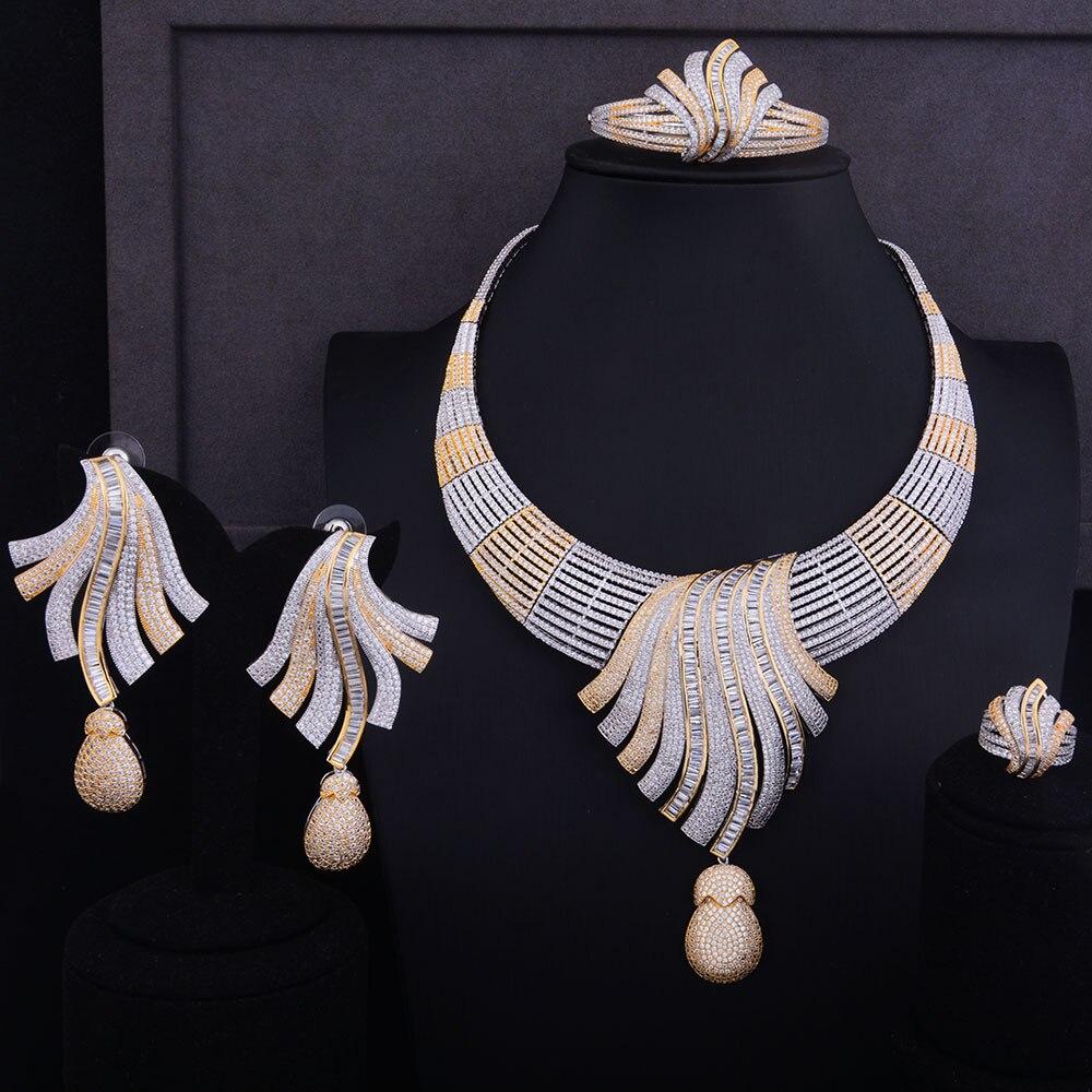 GODKI luxe plume Lariat fleur femmes mariage cubique zircone collier ras du cou boucle d'oreille Dubai bijoux ensemble bijoux Addict