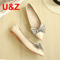 Black/Red/Beige Plus big size elegant office women pointy toe flats,New Patent leather go street shoes silk satin big bow front
