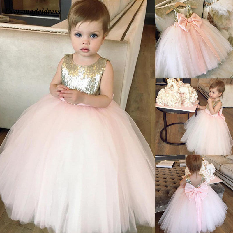 2019 Sweety   Flower     Girl     Dresses   With Bow For Wedding O-Neck Ball Gown Sequined Top Sleeveless Floor Length Pageant Party Gowns