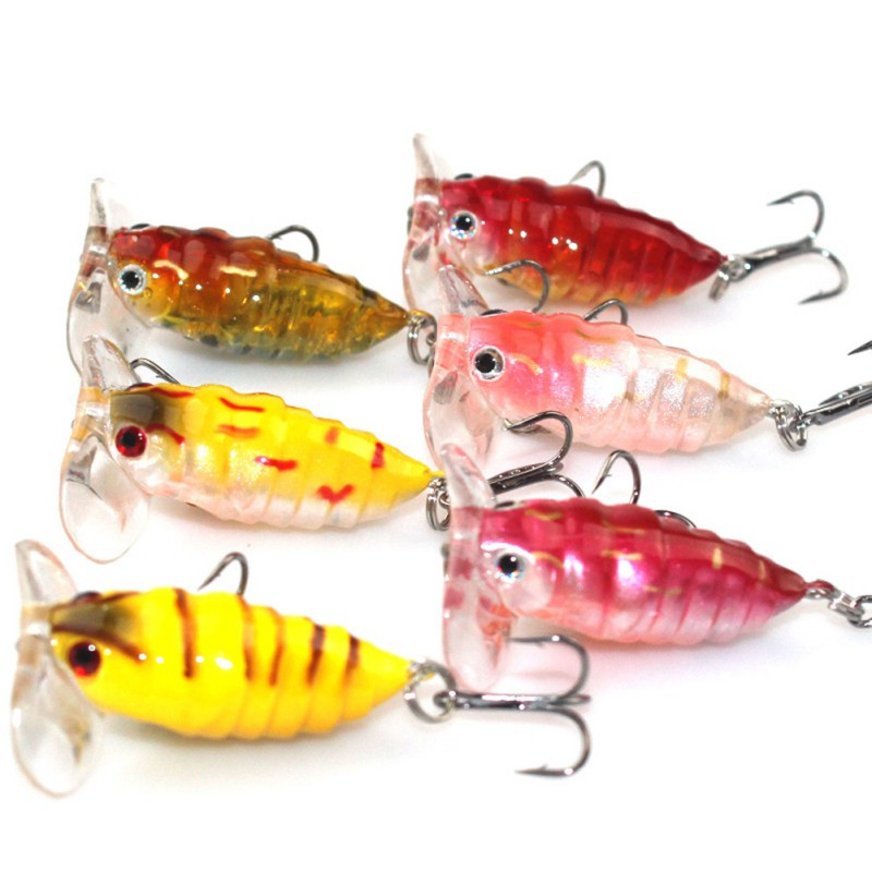 1Pcs Topwater Insects Fishing Lure Hard Bait Bass Crankbait Flying Jig Wobbler 4cm 4.2g Fishing Tackle