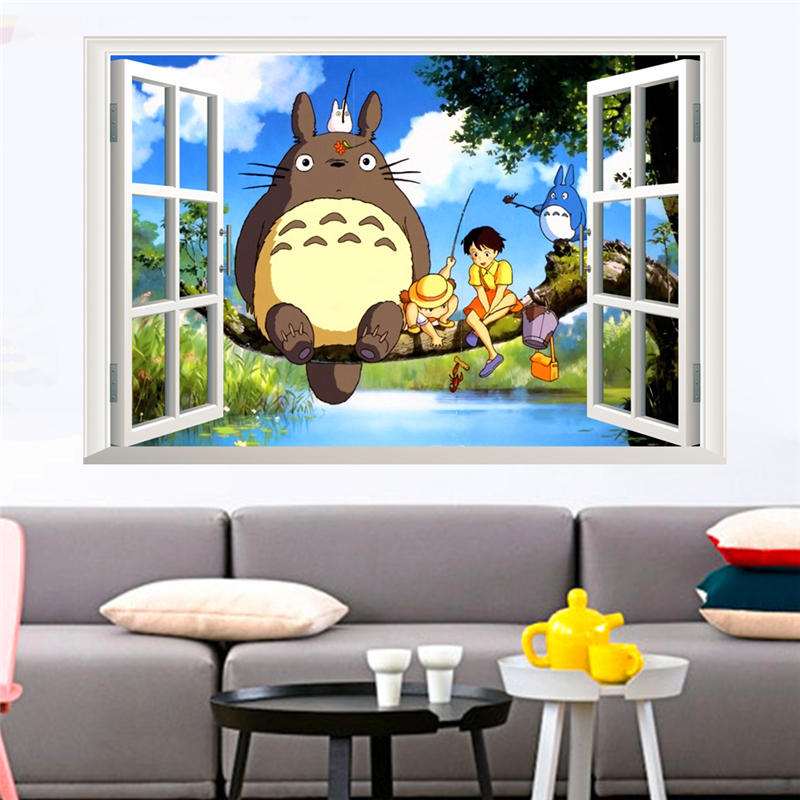 & diy 3D cartoon totoro wall stickers for kids rooms bedroom living room window wall art decor decals pvc removable posters
