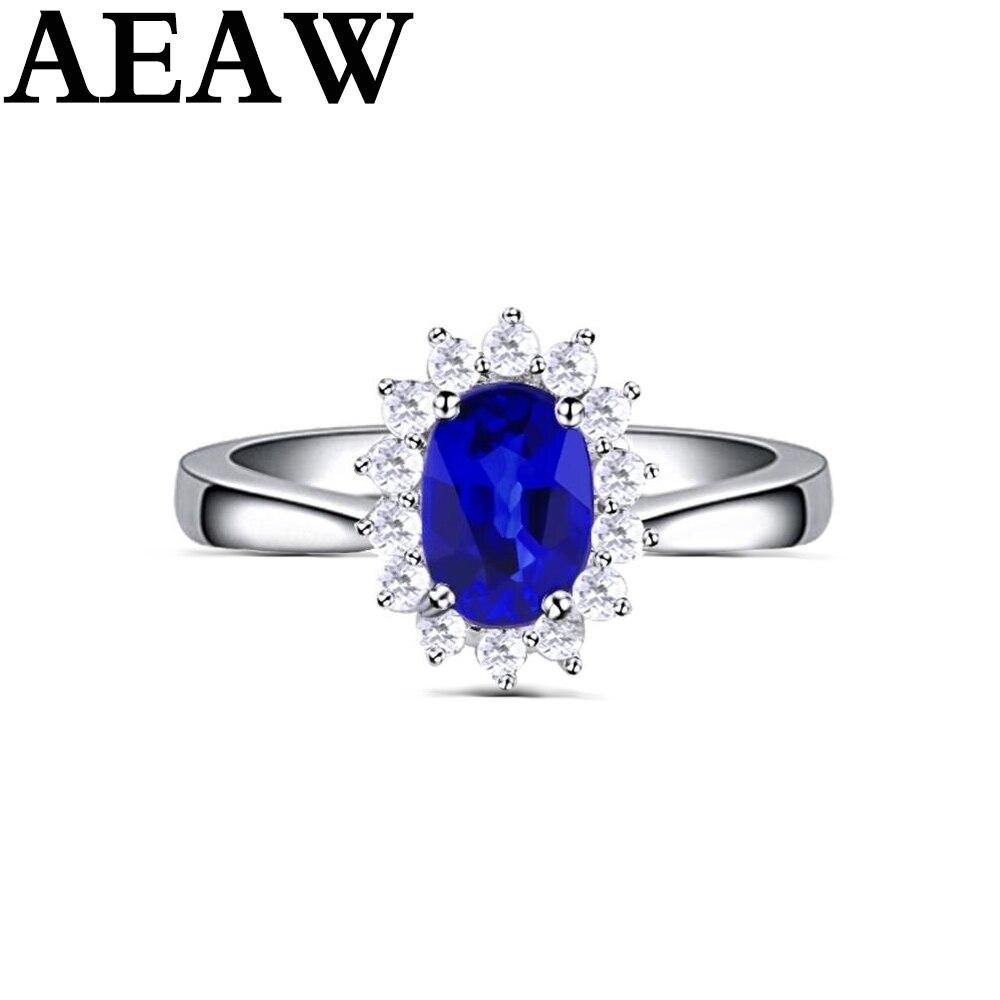 Genuíno 0.5ct aaa anel de safira natural 0.16ctw verdadeiro diamante 14kt ouro branco design simples para a menina aniversário jóias por atacado