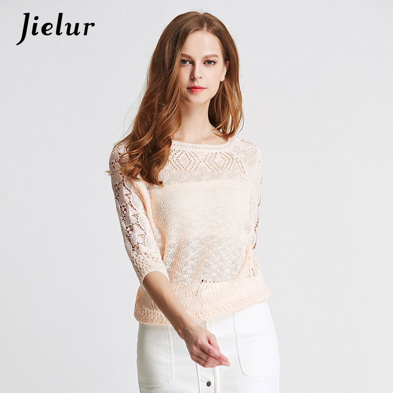 Spring Summer Fashion Lace Female T-shirt Hollow Knitted Stitching T-shirts Pullover O-neck Half Sleeve Women's Shirt Blusas