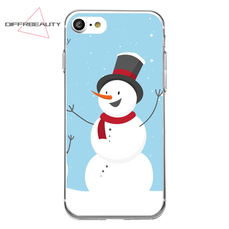 DIFFRBEAUTY Fashion Merry Christmas Snowman Biscuits Sock Lovely Transparent Soft TPU Phone Case Cover for iPhone 7 6 plus 5 SE
