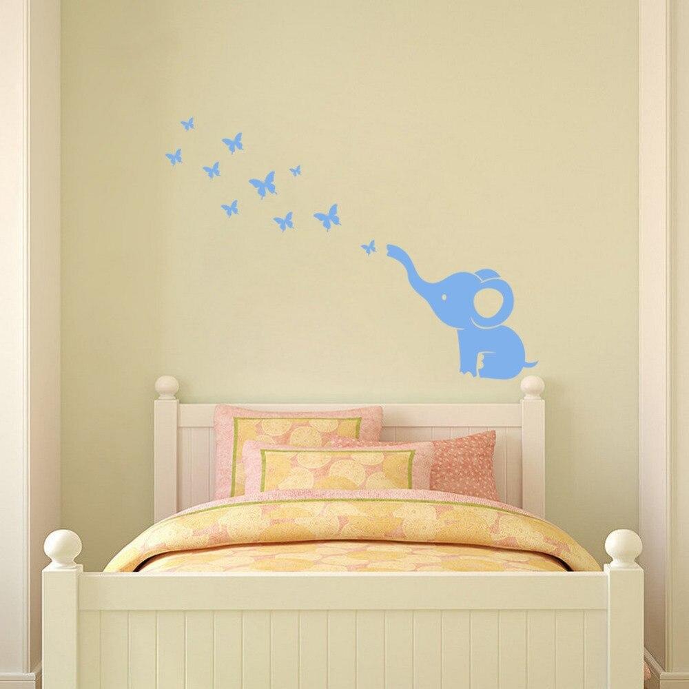 ᐂElephant and Butterflies DIY Wall Stickers Cartoon Decorative ...