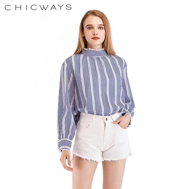 63b98bf02a068a Chicaways Women Casual Tops Loose High Neck Stripe And Gingham Long Sleeve  Top Lace Stripe Spring