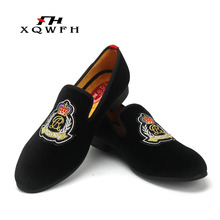 Men Red Shoes Embroidery Crown Mens Party and Wedding Dress Fashion Comfortable Breathable Casual