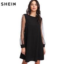 SHEIN Elegant Womens Dresses Pearl Beading Mesh Sleeve Tunic Dress Autumn Black Boat Neck Long Sleeve A Line Dress
