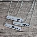 Mamá oso etiqueta grabado Animal colgante collar oro plata madre niños amor collar Simple moda mamá y niños joyería