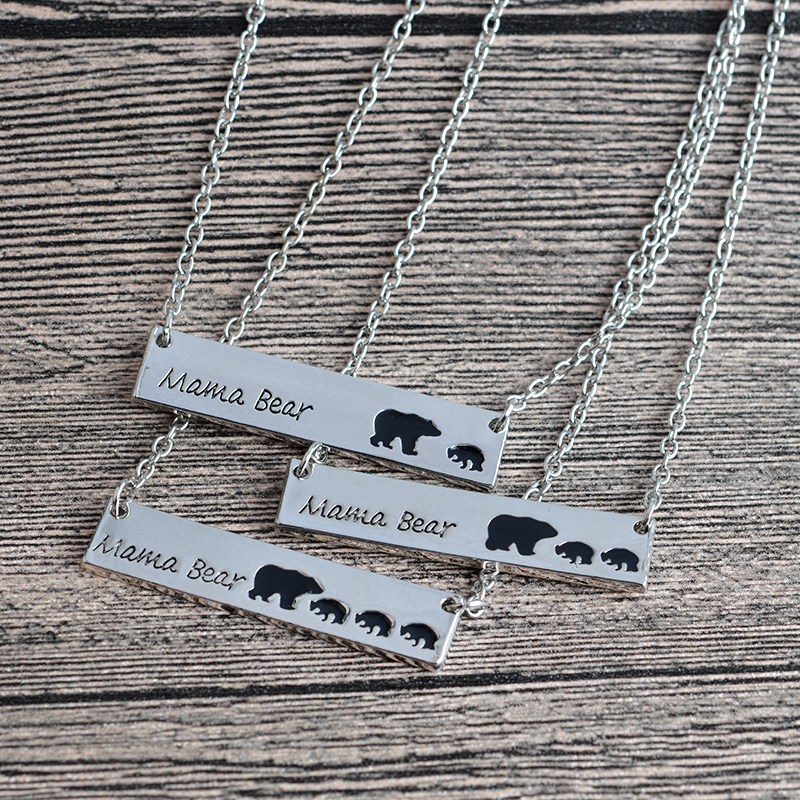 Mama Bear Tag Engraved Animal Pendant Necklace Gold Silver Ms