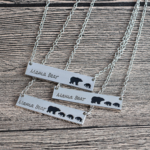Mama Bear Tag Engraved Animal Pendant Necklace Gold Silver Mother Kids Love Necklace Simple Fashion Mom